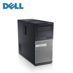 Front view of a dell optiplex 9010 mid tower desktop pc