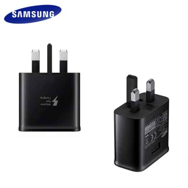 New Samsung 3 pin uk charger plug with usb type a connection in black