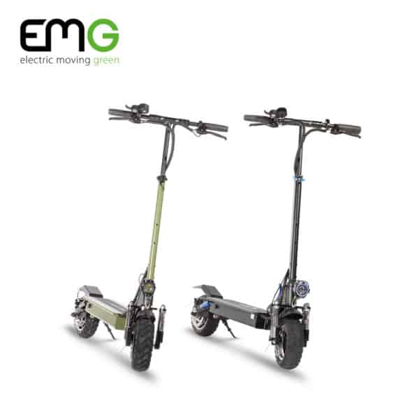 emg velociptor climb electric scooters in black and green
