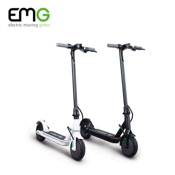 emg velociptor tech mobile electric scooter in black and white